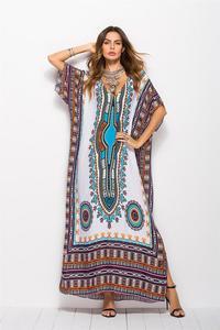 Image 5 - Dubaj Maxi Kaftan moda damska sukienka muzułmańska drukuj Vintage kobieta plaża letnia szata duże rozmiary Arabes Abaya islamska odzież