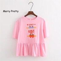 FROHE ZIEMLICH Harajuku Japanischen Brief Mode Frauen Rosa T-shirt Prairie Chic Erdbeere Printed Kurzarm Baumwolle Sommer Top