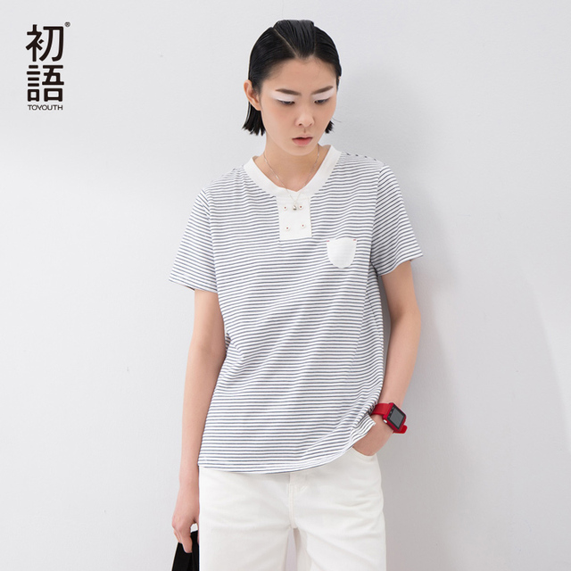 Toyouth 2017 New Arrival Women Summer T-shirt Casual O-Neck Stripe Shirt Female Button Pocket Loose Cotton Shirt