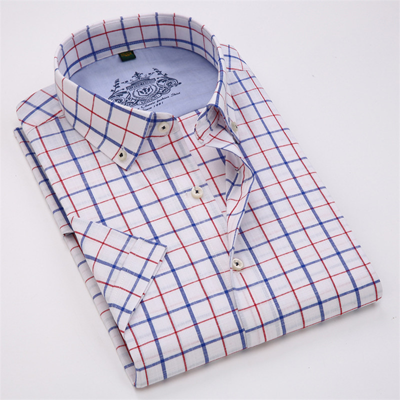 VISADA JAUNA Män Skjorta Pläd kortärmad Casual Brand Kläder - Herrkläder - Foto 3