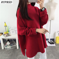 2017 New Turtleneck Sweater Female Korean Loose Thick Coat Knitted Women Hedging Sweater Cashmere Sweater Turtleneck 2 Colors