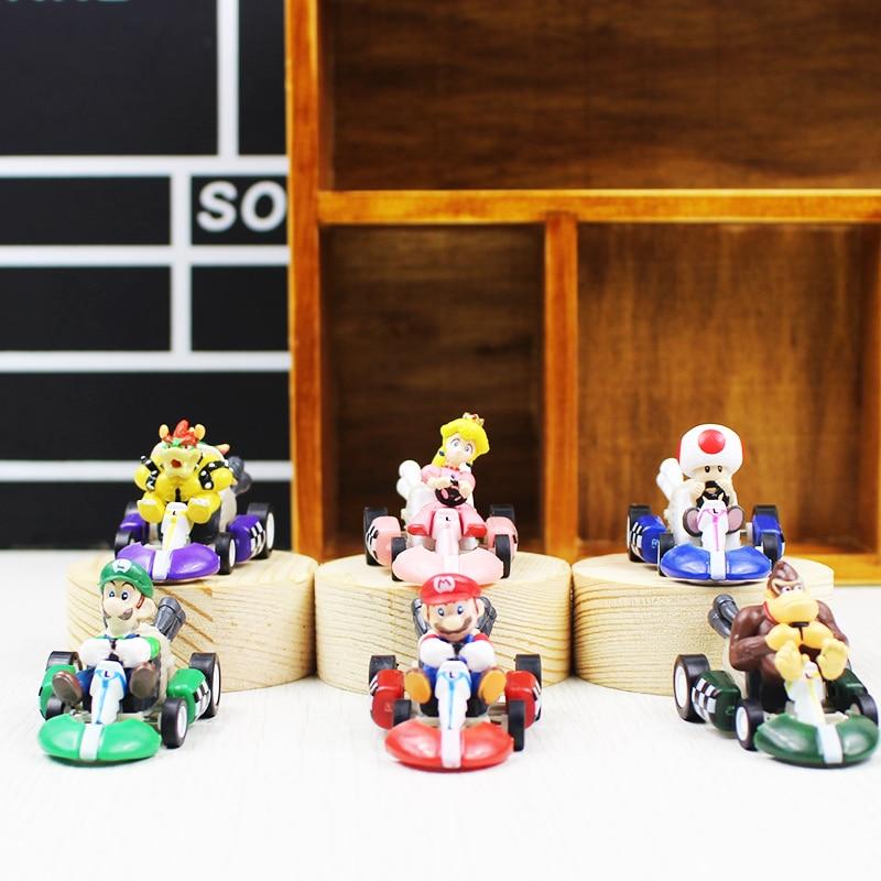 6pcs/set Super Mario Bros Kart PULL BACK Car Figures Kart PULL BACK Cars Figures super mario kart figure shfiguarts super mario bros mario