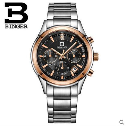 Switzerland Binger relogio masculino Business Men Luxury Brand Quartz Watch Sport Watches Chronograph Luminous Wristwatch reef tiger brand men s luxury swiss sport watches silicone quartz super grand chronograph super bright watch relogio masculino