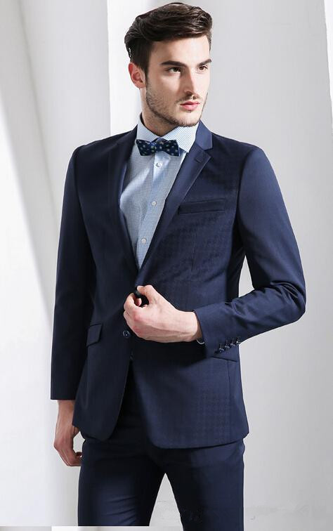 The Latest Two Buttons Groom Suit The Dark Blue Gun Collar