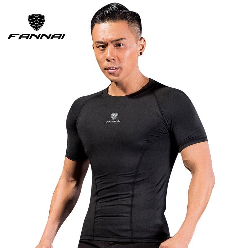 FANNAI Men Compression Shirt Sport Running Shirts Gym Tshirt Bodybuilding ClothesFitness Tight Short Sleeve Dry Fit Sportswearar