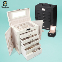 2in1 Box Jewellery boxes jewelry organizer for Earrings Necklaces Bracelets Watches Glasses mirror