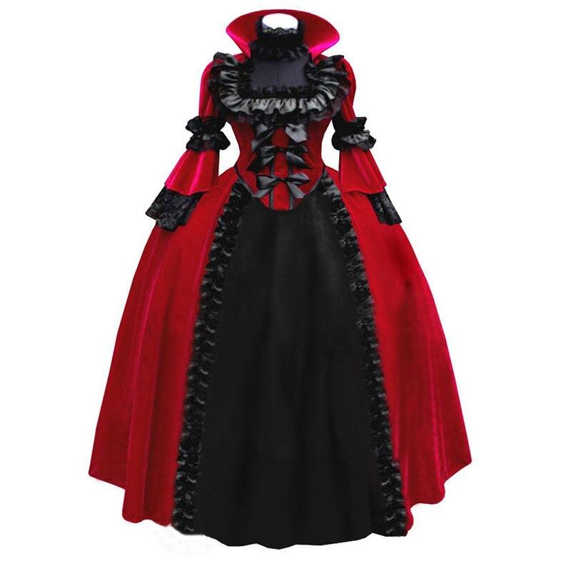 18th siècle col montant à manches longues rouge/bleu dentelle arc Halloween période robe de soirée Renaissance gothique victorien robes de bal