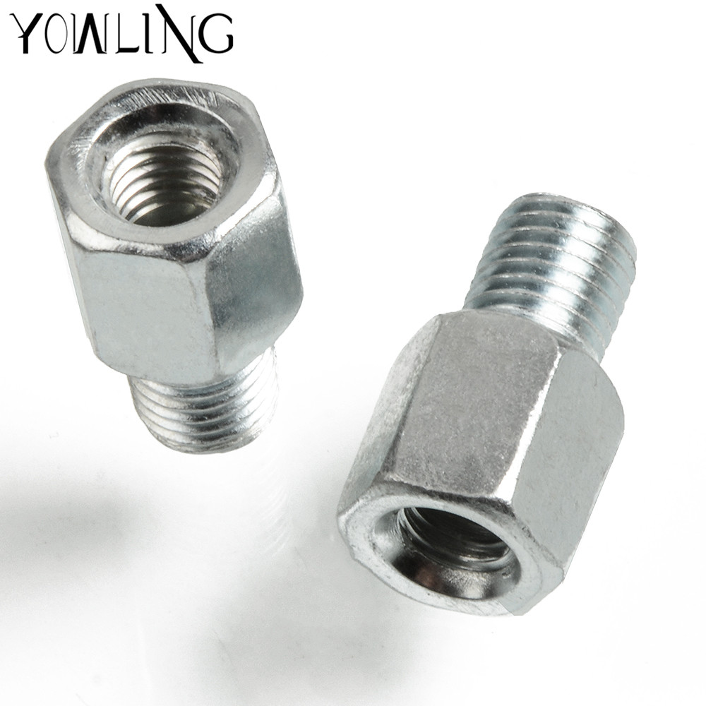 Universal Scooter Motorcycle Reaview Mirrors Bolts <font><b>Screw</b></font> <font><b>Adapter</b></font> M10 <font><b>M8</b></font> 10MM 8MM Right Left hand thread Convertor <font><b>Screw</b></font> Silver image