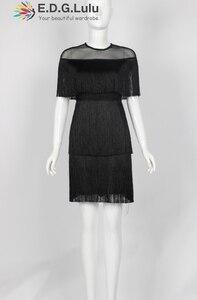 Image 4 - fringe dress vintage elegant sexy party club wear beach mesh tight streetwear sundress runway  women summer dress 2019 tassel