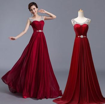 2020 Ensotek Straps Crystal A-Line Long Evening Gowns vestidos de festa Burgundy Long Graduation Prom Party Dresses Custom Made