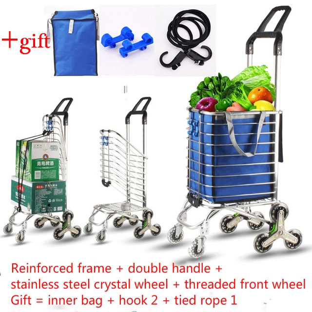 1a3f5e432617 US $77.62 10% OFF|New Foldable Aluminum Alloy Shopping Cart Portable  Climbing Trolley Luggage Cart Large Capacity Supermarket Shopping Cart-in  Storage ...