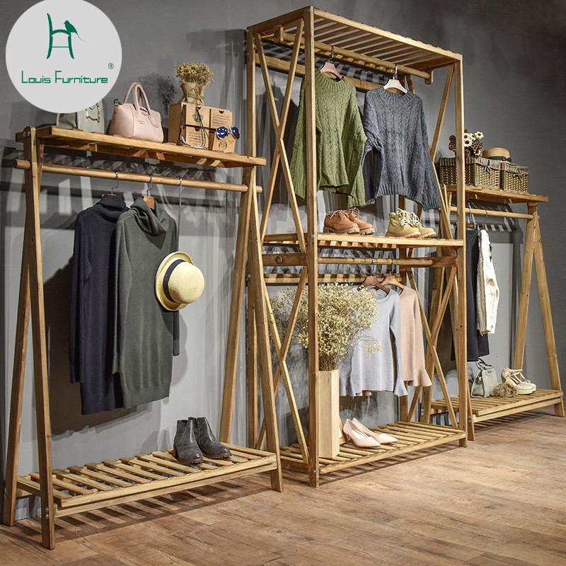 Louis Fashion Coat Racks Clothing Store Display Solid Wood Floor Mounted Display Hanger