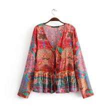 New 2019 Spring Summer Floral Print Jacket Long Sleeve Boho Coats For Women Tassels Gypsy Folk Hippie Chic Female Jackets NO798(China)