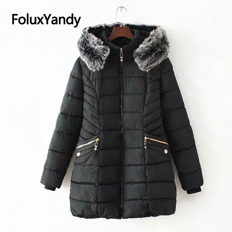 6 XL Plus Size Winter Jacket Women Long Coat Faux Fur Collar Warm Thick Slim   Parkas   Solid Outerwear KKFY2870