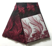Latest 2018 Nigerian French Mech Lace Fabric Embroidered High Quality African Lace Fabric Wine Red Cord