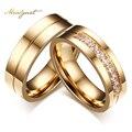 Meaeguet banhado a ouro cz anéis de casamento para as mulheres homem cúbicos de zircônia anel de aço inoxidável romântico jóias eua tamanho