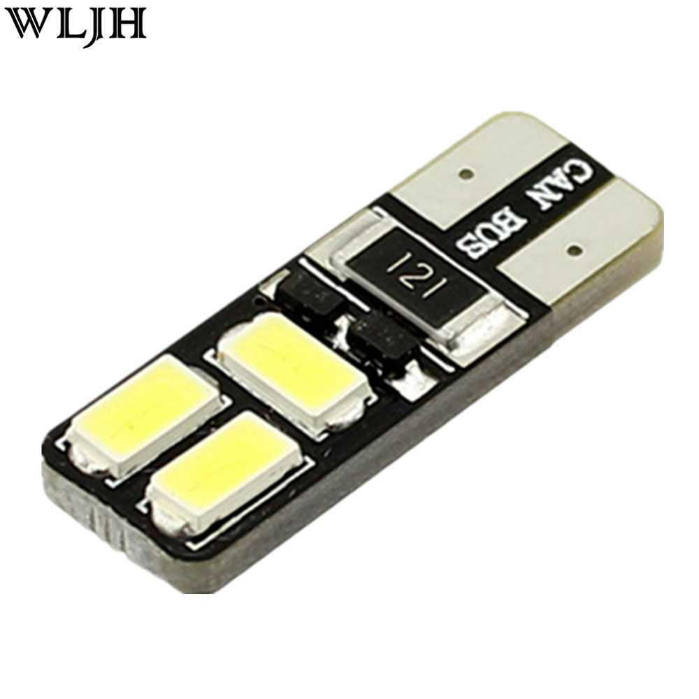 WLJH 1x 2017 New White CANBUS No error T10 Car LED Light W5W 6Smd 5630SMD Auto Dome LED License Plate Turn Singal Parking Light cyan soil bay 9led 5630 smd festoon c5w canbus error free auto car dome license plate map reading light bulb 36mm white ice blue