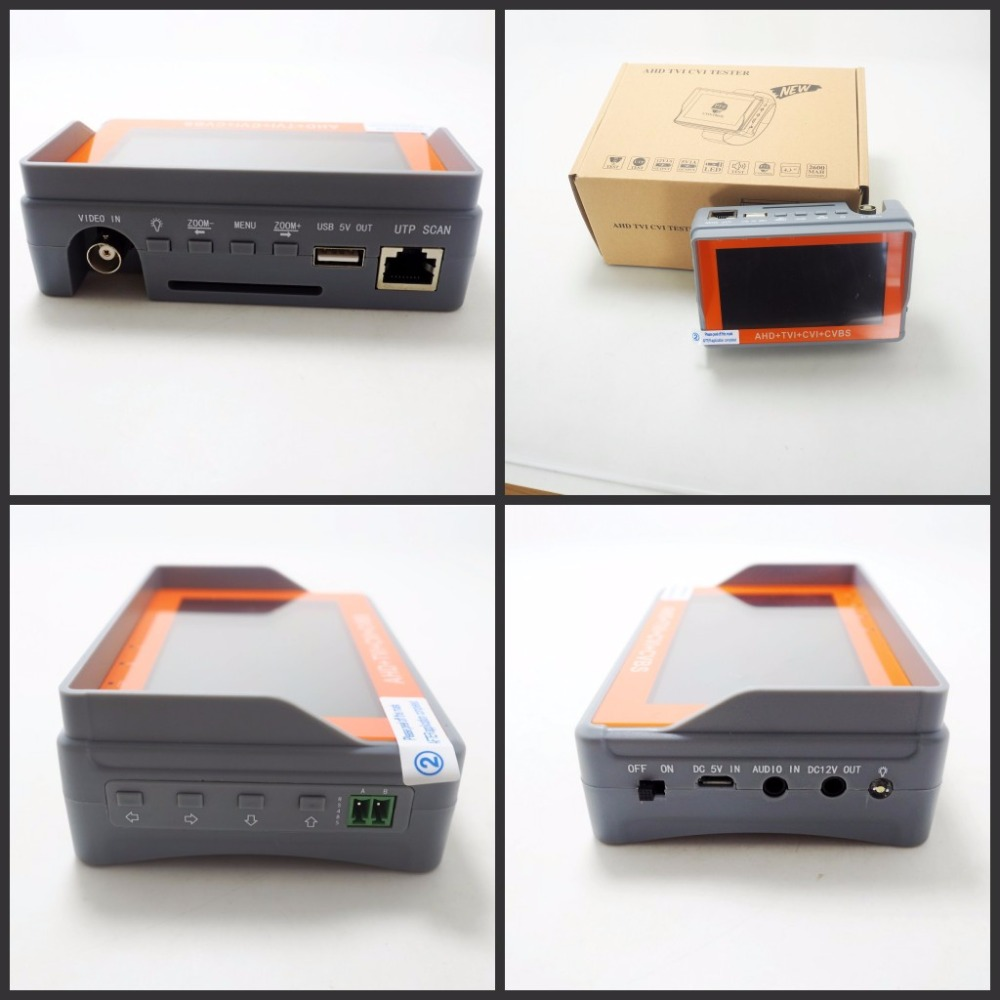 DHL free 4.3 Inch CCTV Tester IV7W 5MP 4MP AHD TVI CVI CVBS Security camera tester monitor with UTP PTZ Audio test DC12V Output