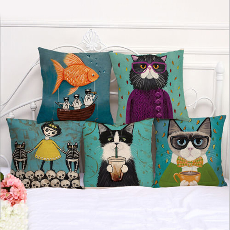Animal Pillow Case Cartoon Cat Pillow Covers Skull Cat Cushion Covers for Home Sofa Decorations Pillowcase