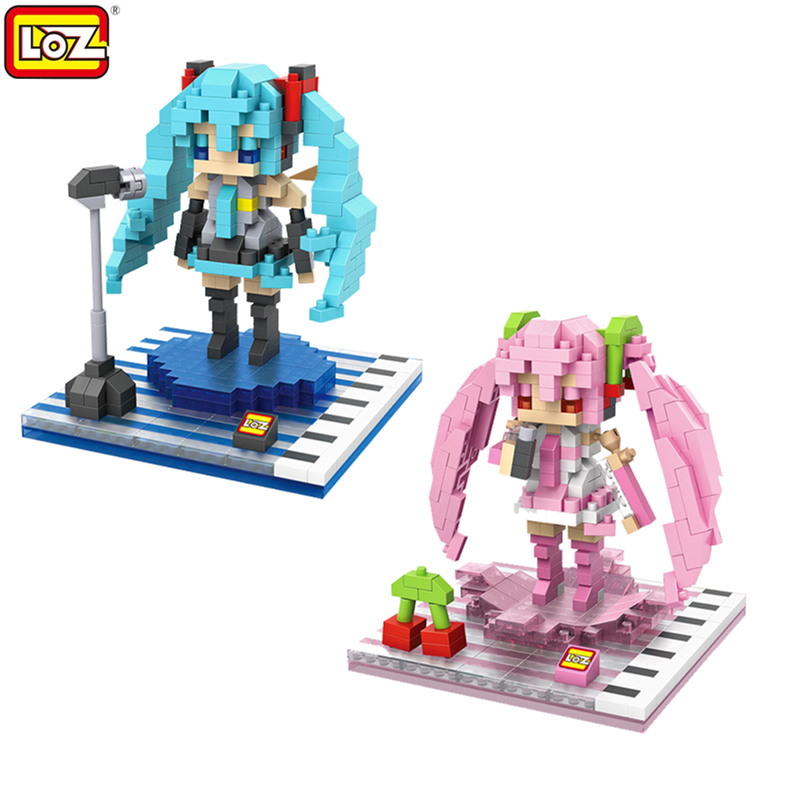 LOZ Mini Qute 2 Styles Japanese Kawaii Anime Hatsune Miku Plastic Building Blocks Cartoon Model Educational Toys Gift For Girls loz world famous classic architecture assembe mini building blocks educational model toys birthday gift for child eiffel tower
