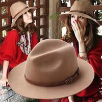 النساء القبعات القبعات أحد جديدة فخمة للنساء المرنة الواسعة الحافة ورأى الصوف السيدات فيدورا قبعة قبعة القبعات قاء زجاجي مشبك معدني لحزام