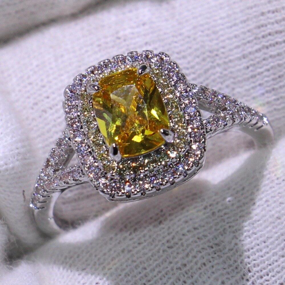 Taille 6-10 nouveauté bijoux de luxe coussin forme or CZ 925 en argent Sterling fête dames femmes mariage bague de fiançailles