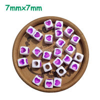 Cube Shape 7x7mm 1900pcs Letter & Alphabet Acrylic Loose Purple Cube Heart Spacer Beads for Jewelry & DIY Craft