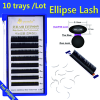 10pcs/Lot Ellipse eye lash 3D PBT Fiber Flat Individual EyeLash Extension Very Soft Light Lash Bring bolder look