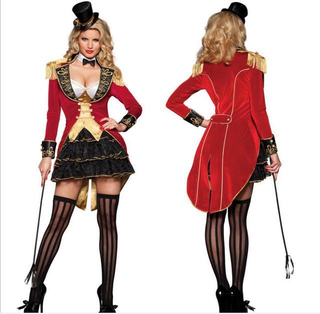 fc5c8ff31c65 € 27.25 11% de DESCUENTO Maestro de Ceremonias traje para adultos Sexy  travieso circo cabecilla disfraces de Halloween para las mujeres de Harley  ...