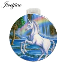 JWEIJIAO Unicorn Rainbow Photo Pocket Mirror With Massage Comb Folding Compact Portable Make up Multifunctional Beauty Tools