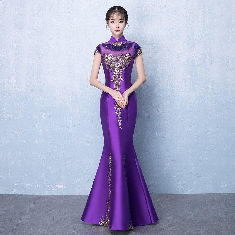 e7c1f3bb755 Китайское вечернее платье Винтаж женское Vestido большой размер 3xl вышивка  блестками длиной до пола длинное платье