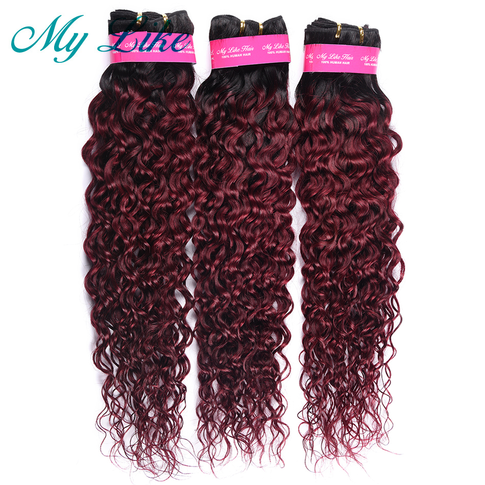 Bundles Weave Human-Hair Burgundy Water-Wave Black Ombre My-Like To 10--24-1b-99j