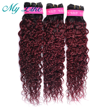 "My Like Water Wave Ombre Human Hair Bundles 10""-24"" 1b 99j Ombre Black to Burgundy Brazilian Hair Weave 1/3 Bundles Nonremy Hair"