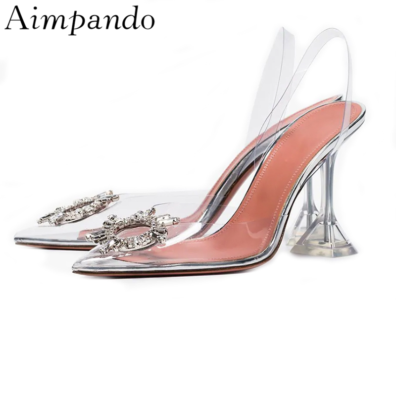 Sexy Summer Pointed Toe Rhinestone Sandals Women Transparent PVC Clear Crystal Cup Heel Back Strap Holiday Sandalias MujerSexy Summer Pointed Toe Rhinestone Sandals Women Transparent PVC Clear Crystal Cup Heel Back Strap Holiday Sandalias Mujer