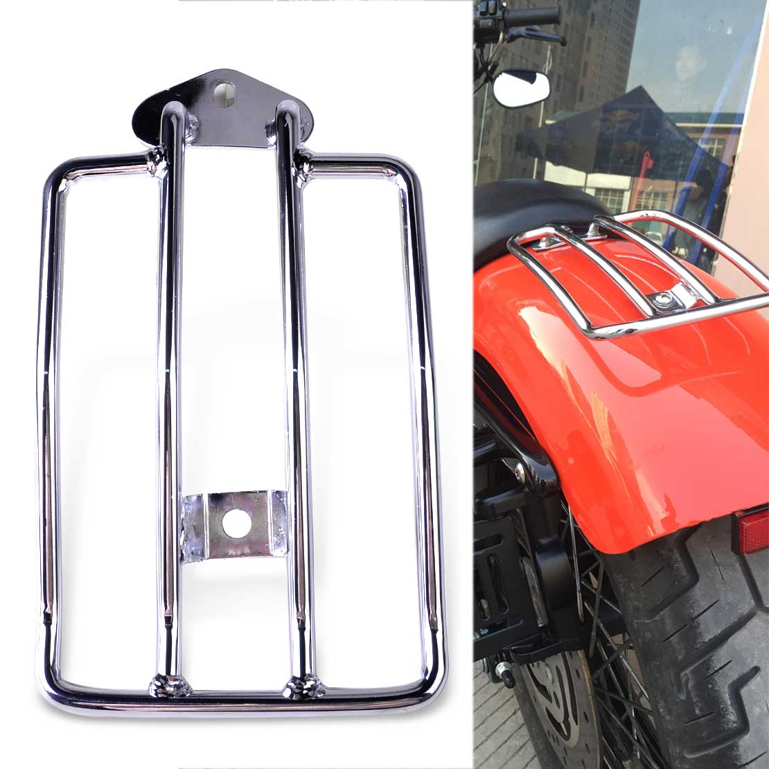 beler New 1Pc Silver Motorcycle Seat Luggage Shelf Carrier Support Rack Fit for Harley Davidson Sportster 1200 Sportster 883 brand new silver color motortcycle accessories abs plastic led tail light fit for harley harley iron 883 xl883n xl1200n chopped