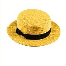 Nuevo diseño de moda niños niñas mujeres protector solar verano sombrero  canotier clásico tejer paja señoras Flat Top sombrero d. 5066e39fc08