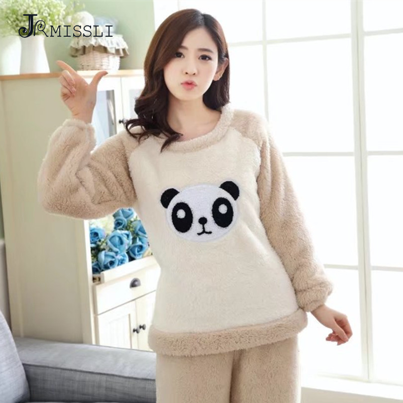 JRMISSLI Winter plus size pajamas Panda thick flannel ...