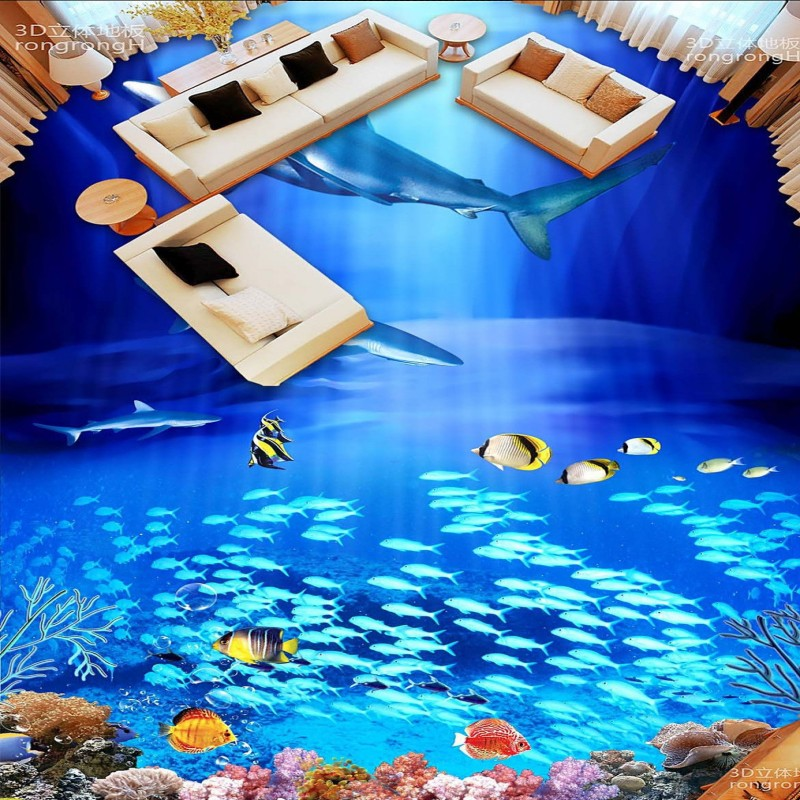 Free Shipping Sea bottom fish shark 3D floor tile floor painting wallpaper bedroom living room lobby square flooring mural free shipping penguin dolphin 3d sea world flooring painting kitchen lobby restaurant floor wallpaper mural