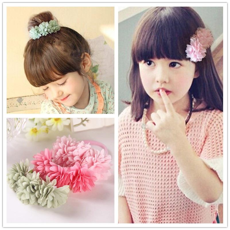Fashion Children Hair Ropes Girls Hair Accessories Kids Headwear Pastoral Style Flowers Elastic Hair Bands Princess Headdress