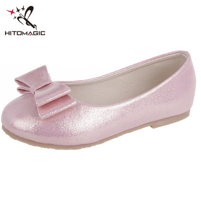 HITOMAGIC Girls Leather Shoes Girls Princess New Spring Summer Footwear Flats Kids Children Shoes For Party Wedding Heel Silver