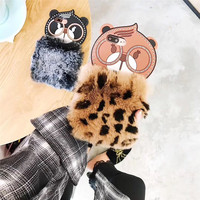 Merry Christmas High Quality 3D Silicone Glasses OWL Bear Leopard Print Mobile Phone Cases For IPhoneX