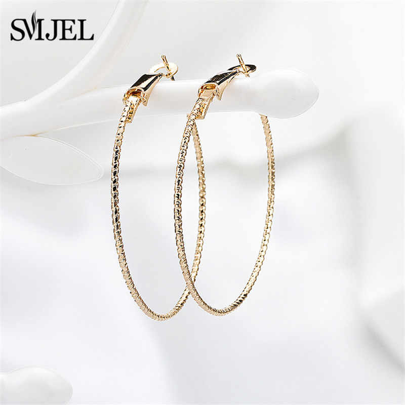 SMJEL Big Stainless Steel Circle Hoop Earrings for Women Basketball Earing Jewelry Luxury Round Ring-Earrings Wholesale Gifts