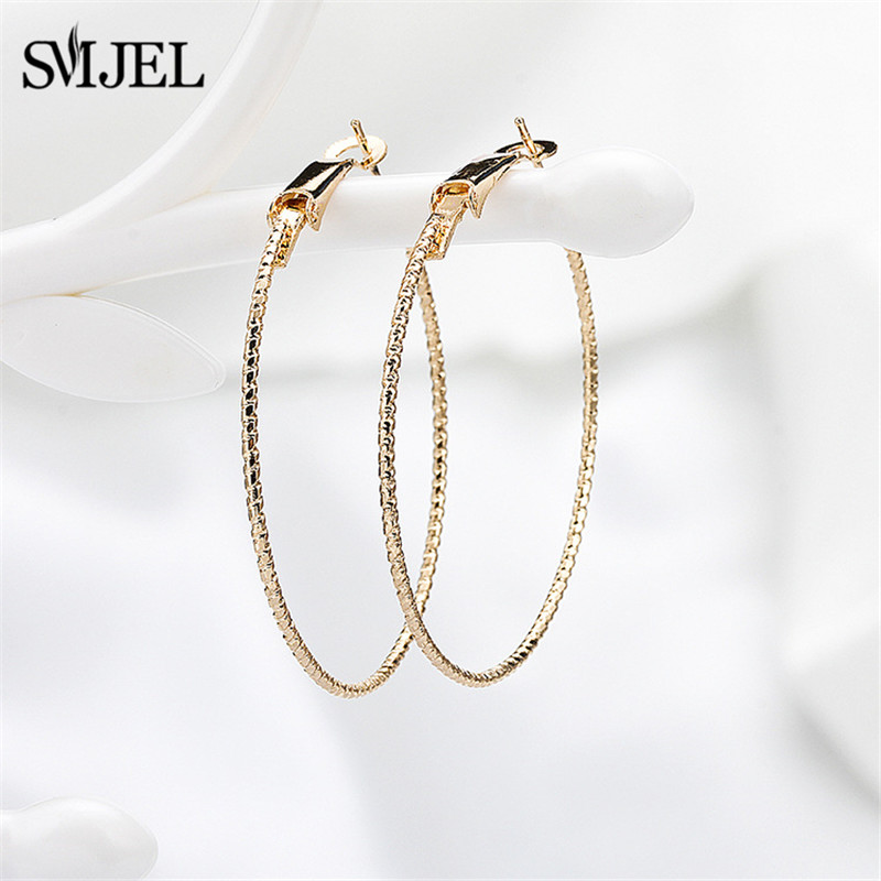 SMJEL Big Stainless Steel Circle Hoop Earrings for Women Basketball Earing Jewelry Luxury Round Ring-Earrings Wholesale Gifts locket