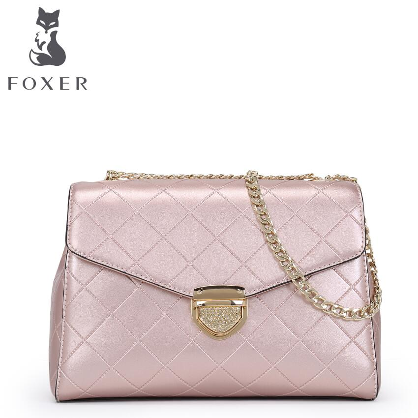 ФОТО 2017 New FOXER fashion women leather bag chains small bag quality cowhide bag famous brands women leather shoulder messenger bag