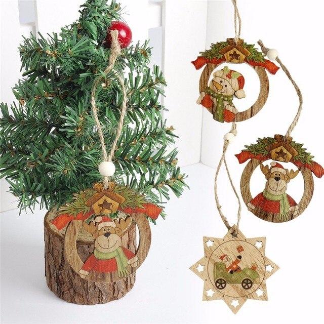 1pc Christmas Wooden Pendants Deer Dolls Ornaments Diy Christmas