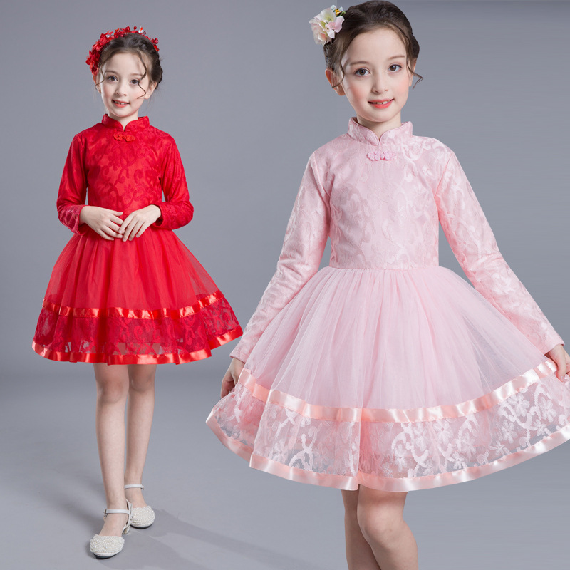 Children'S Dress For Girls Cheongsam Long-Sleeved Dress Kids Girl Clothes Fashion Chinese Style Princess Dress In Party Garment chinese red flower lace cheongsam girls dresses fleece thick long sleeved princess dress girl cute children costume kids clothes