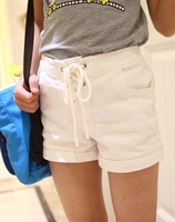Children's Garment Spring Girl Shorts Restore Ancient Ways High Waist Search Edge Shorts Tight Pants Jeans