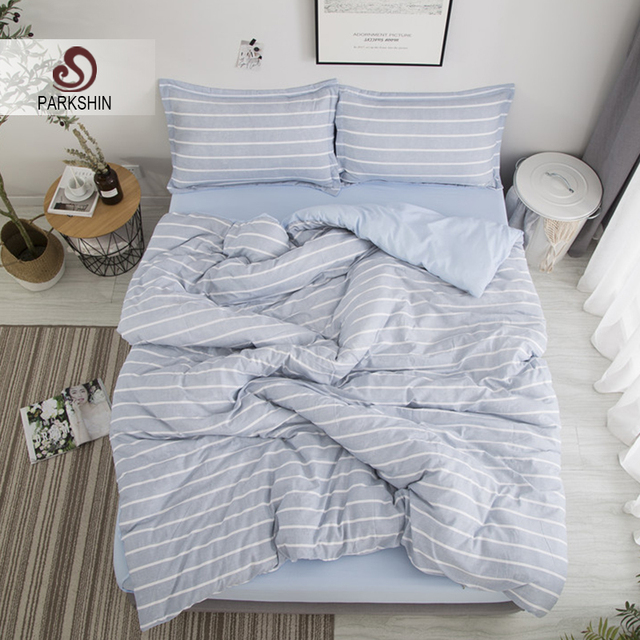 144d5ee9f55 Parkshin Bedding Set Blue White Stripe Bed Sheet On Elastic Linens Comforter  Duvet Cover Bedspread Queen King Adult Bedclothes