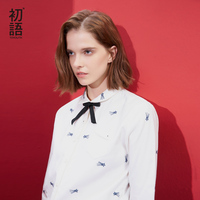 Toyouth Women's Fashion Embroidery Blouses Turn Down Collar Long Sleeve Shirts All Match Cotton Autumn Blusas Feminina 2019 Tops