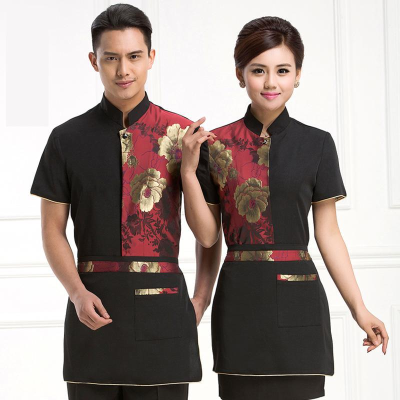 Hotel Uniform Summer Restaurants Cafe Restaurant Snack Uniforms For Men Women Section Half Sleeve J068